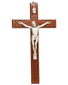 Wood Engraved Crucifix 8 inch