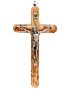 Olive Wood Embossed Crucifix 8 inch