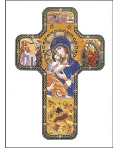 Wood Icon Cross 7 inch/Lady of Perpetual Help