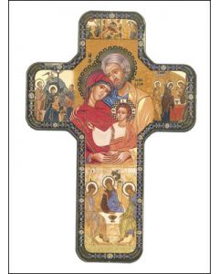 Wood Icon Cross 7 inch/Holy Family