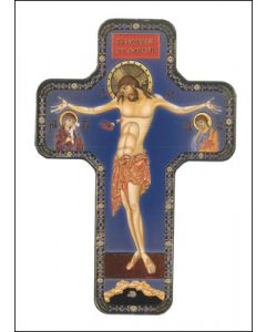 Wood Icon Cross 7 inches/Crucifixion