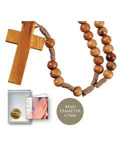 Rosary/Olive Wood Corded with Cross