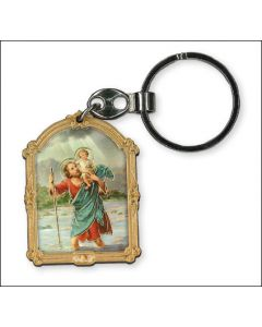 Key Ring/Wood/Gold Highlights/St.Christopher