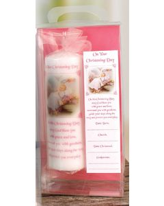 Christening Candle 8 inch Gift Boxed/Girl