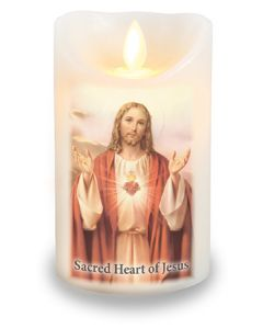 LED Candle/Scented Wax/Timer/Sacred Heart